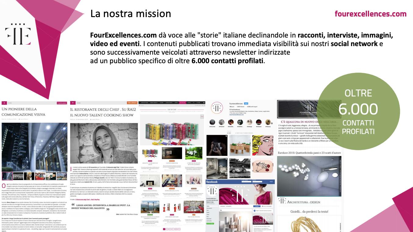 Articoli e newsletter, mediakit 2019 FourExcellences - www.fourexcellences.com - aurorachiara.com